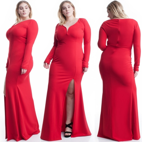 NEW PLUS SIZE LONG SLEEVES BODYCON RED MAXI DRESS Boutique